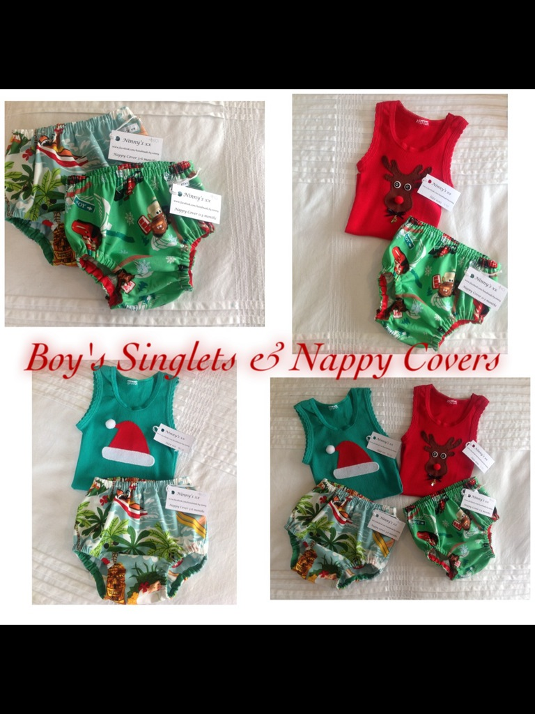 boys nappy covers and singlets